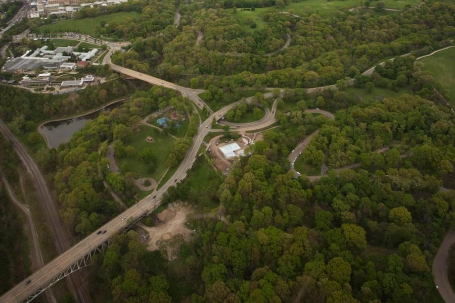 Schenley Park, pictured, is the closest park to Pitt's campus, just a five-minute walk from the Cathedral of Learning. The park has hiking and biking trails, disc golf courses and an outdoor ice skating rink in the winter months.