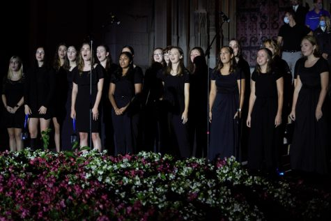 """First-year and second-year women attended Pitt's 101st annual Lantern Night on the Cathedral Lawn Sunday night, receiving the """"light of learning"""" from Pitt alumni."""