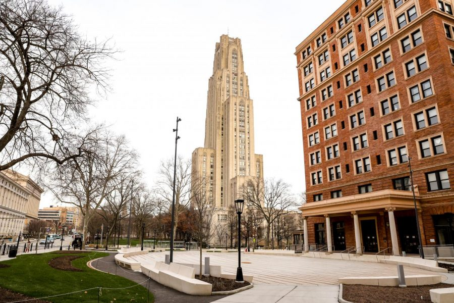 The Cathedral of Learning and William Pitt Union on campus.