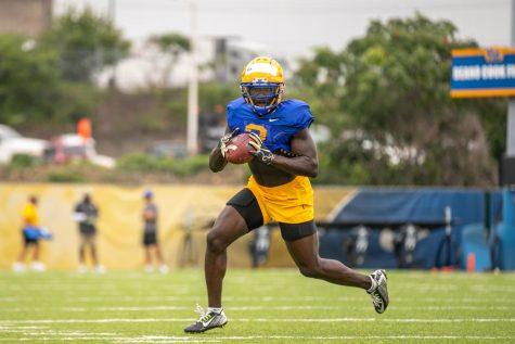 Sophomore running back Israel Abanikanda (2) at Pitt football's training camp on Thursday.