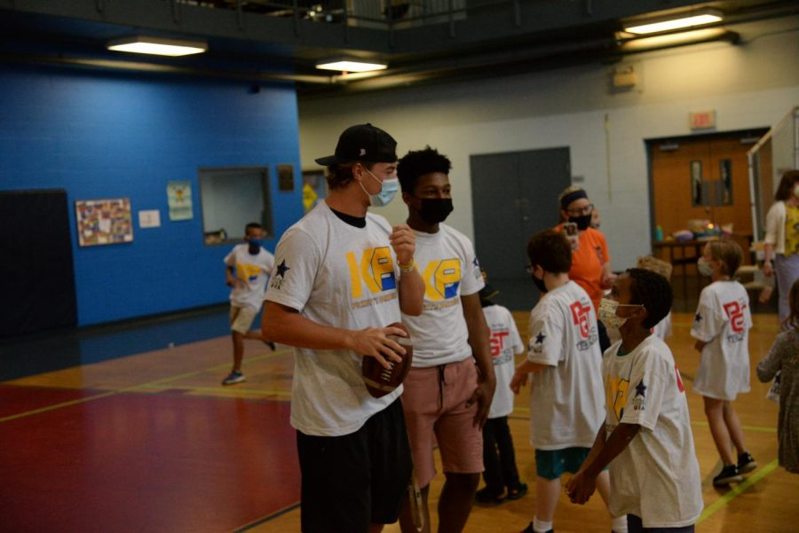 Kenny Pickett talks with kids on Monday afternoon at the Boys and Girls Club in Lawrenceville.