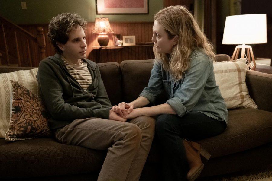 Ben Platt, left, and Julianne Moore in Dear Evan Hansen.