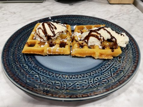 One of the chocolate waffle options from South O Waffle Co., a student-run vendor located at 9 Cable Place.