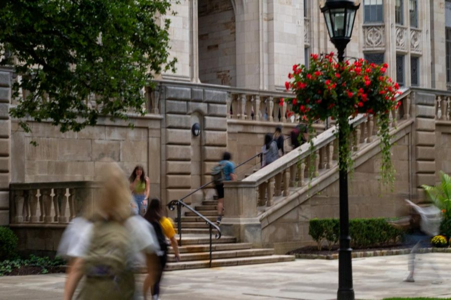Students walk to their classes at the Cathedral of Learning.