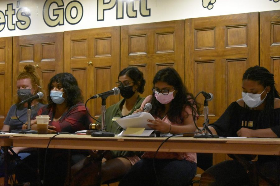 Student Government Board held a public, in-person meeting in the William Pitt Union Tuesday night. Pictured speaking is President Harshitha Ramanan.