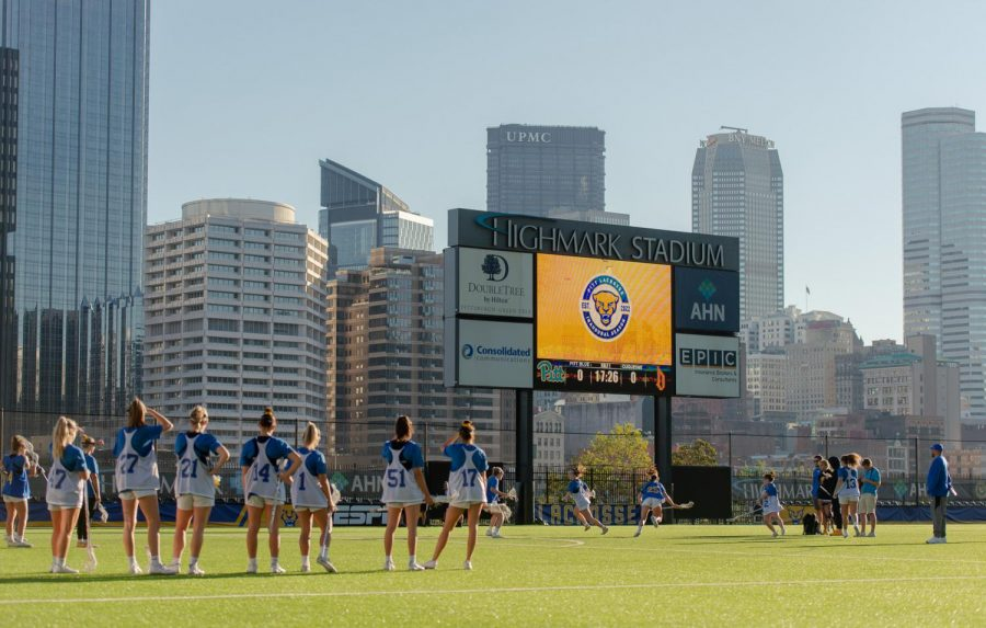 Highmark Stadium, the new home of Pitt women's lacrosse, provides the crowd with a great view of Pittsburgh's downtown, as well as a large bar and a variety of dining options.
