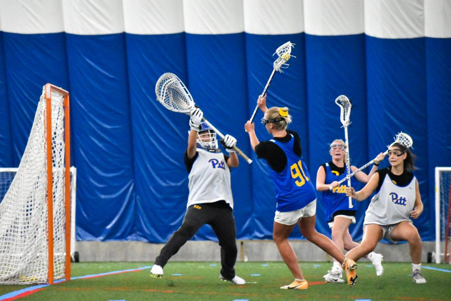 Pitt women's lacrosse practices at the Sports Dome last Monday in the morning. When the team takes the field in spring 2022, it will be their first year as a varsity squad.