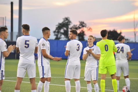No. 3 Pitt men's soccer, pictured here at last Thursdays game against Dusquesne, convincingly regained form in a 2-1 win over Lehigh in front of a packed home crowd Friday night at Ambrose Urbanic Field.