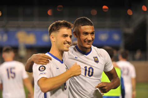 Pitt men's soccer played Penn State Monday night in a non-conference contest, defeating the Nittany Lions 1-0. Pictured is No. 8 Valentin Noel and No. 10 Bertin Jacquesson.