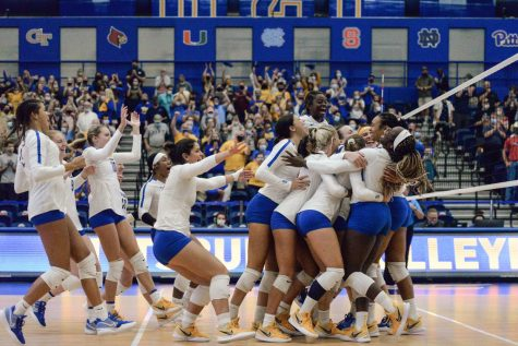 On Friday, the Panthers celebrated after extending their winning streak with a 3-1 victory at home over No. 12 BYU. It was their second victory of the day in the Panther Challenge, hosted this weekend by Pitt at the Fitzgerald Field House.