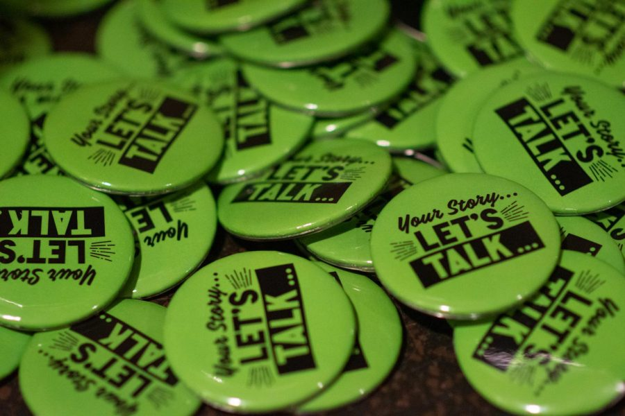 Buttons at Student Government Board's meeting last week in support of Mental Health Awareness Month.