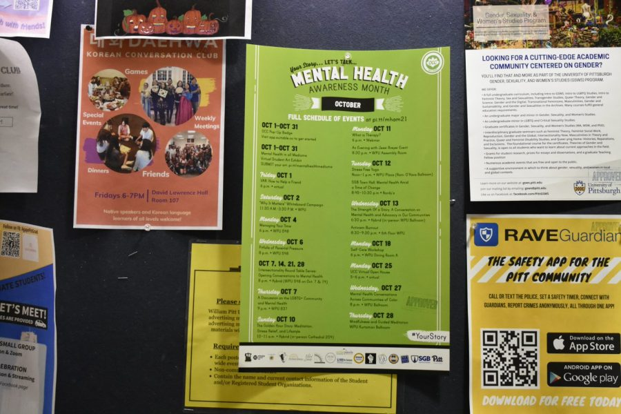 A Mental Health Awareness Month poster in the William Pitt Union.