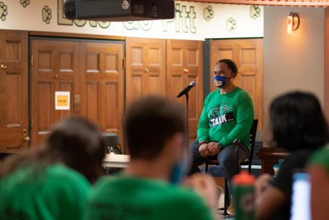 Dr. Jay Darr, the director of the University Counseling Center, spoke at a Student Government Board town hall on Tuesday evening for Mental Health Awareness Month.
