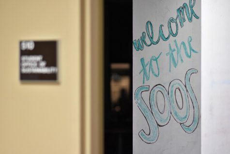 The entrance to the Student Office of Sustainability on the fifth floor of the William Pitt Union.
