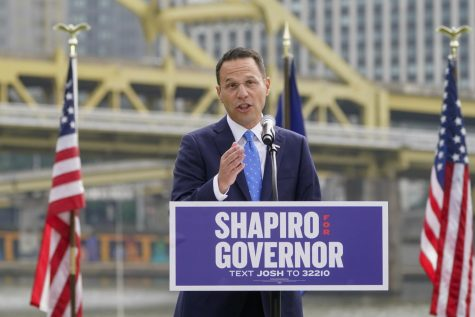 Pennsylvanias Democratic attorney general Josh Shapiro speaks to a crowd with the city behind him during his campaign launch address for Pennsylvania governor, Wednesday, Oct. 13, 2021, in Pittsburgh.
