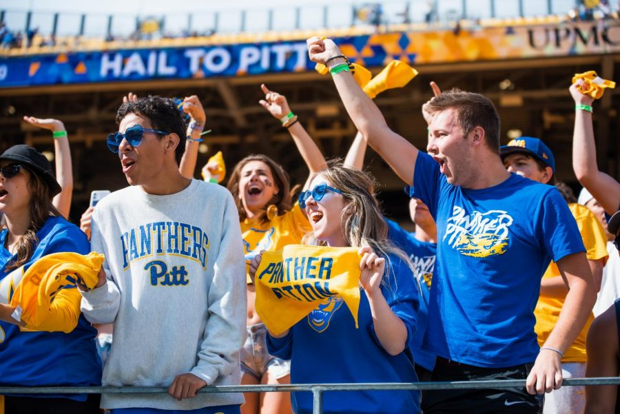 Unmasked Pitt students at a football game against New Hampshire at Heinz Field on Sept. 25.