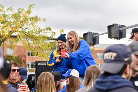 Pitt fans tailgating outside of Heinz Field on Saturday. More than 60,000 fans came to watch the Panthers take on the Clemson Tigers.